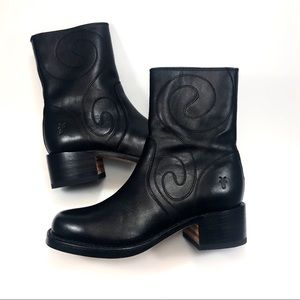 Frye Black Leather Sz 7.5 Mid Calf Boots